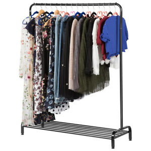 Durable Metal Commercial Grade Clothing Garment Rack W Top Rod And Lower Us