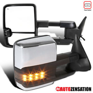 For Chevy 95 99 Tahoe 88 00 C K Chrome Power Heated Tow Mirrors Smoke Led Signal