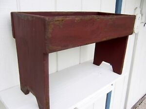 Primitive Painted Distressed Rustic Country Pine Garden Bench Farmhouse Style
