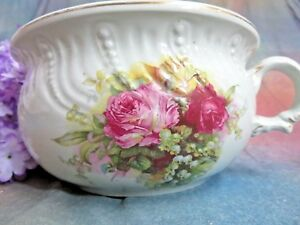 Antique Porcelain Jardiniere Chamber Pot Planter England Roses Lily Of Valley