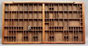 Antique Printer S Typesetter S Double Tray Wood Drawer 32 X 16 1 2 Great Look