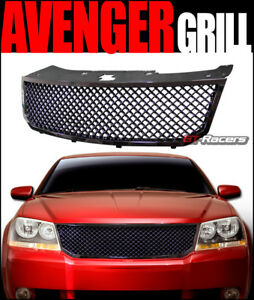 For 2008 2010 Dodge Avenger Glossy Blk Mesh Front Bumper Grill Grille Guard Abs