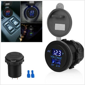 Waterproof 5v 2 1a Car Vehicle Usb Port Charger Adapter Blue Led Voltage Monitor