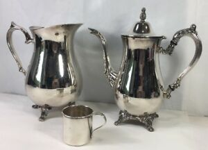 Oneida Silver Plate Coffee Pitcher International Water Pitcher Rogers Baby Cup