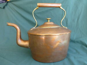 Antique Dovetailed Copper And Brass Gooseneck Tea Pot Or Kettle