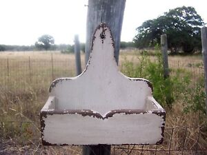 Primitive Rustic Painted Country Wall Shelf Candle Mail Box Farmhouse Shelves