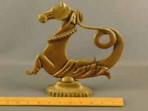Antique Bronze Sculpture Greek Sea God Poseidons Horse Hippokampos Sea Horse