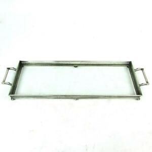 Vintage Long 20 Rectangular Sterling Silver Glass Serving Vanity Gallery Tray