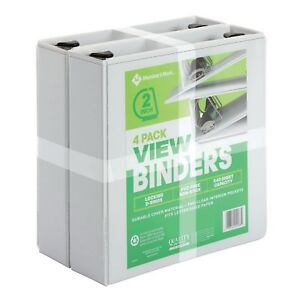 4 Pack 2 White View Binders 540 Sheet Capacity D ring D Ring