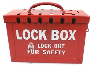 Heavy Duty Red Steel Group Lockout Box Max Number Of Padlocks 13 6 X 9 1 4