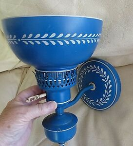 Vintage Metal Tole Wall Sconce Blue Electric Light Fixture