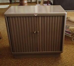 Vintage Cole steel Tambour Doors Filing Cabinet Side Cabinet Mid Century Modern