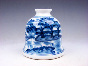 Blue White Glazed Porcelain Oriental Scenery Hand Painted Water Pot 06291801