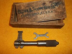 Vintage Brown Sharpe B s Inside Micrometer No 252 In Original Wood Box