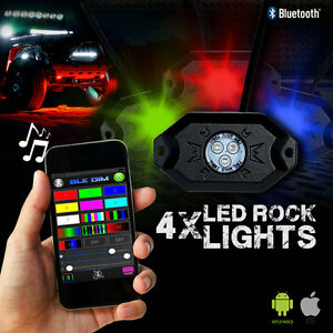 Led Rock Lights Aluminum Wireless W bluetooth Music Rgb Color Accent Under Car