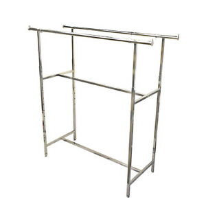 48 72 Double Parallel Bar Clothes Garment Retail Display Rack Adjustable Height
