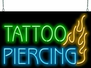 Tattoo Piercing Neon Sign Jantec 2 Sizes Body Art Free Shipping Flame