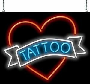 Tattoo With Heart Neon Sign Jantec 2 Sizes Body Art Graphic Piercing