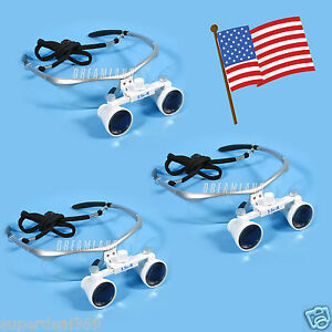 3 usa New Dental Optical Surgical Binocular 3 5x Loupes Glasses Magnifier Silver