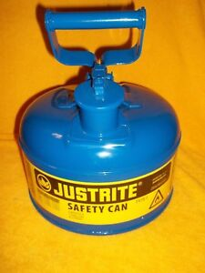New Justrite 7110300 Type 1 Blue 1 Gallon Steel Safety Can