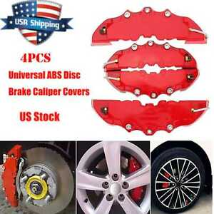 4pcs Auto Disc Brake 3d Cars Parts Caliper Covers Front Rear Red