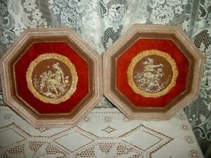 Hollywood Regency Chic Cherub Lady Plaster Intaglio Plaques Velvet Wood Shabby