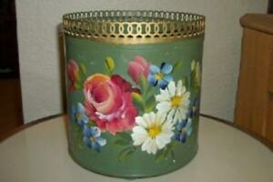 Hp Tole French Green Roses Cache Pot Reticulated Chic Shabby Paris Apt Vintage