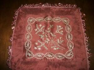 Vintage Silk Embroidered Beaded Ruched Pleated Pillow Cover Chic Shabby
