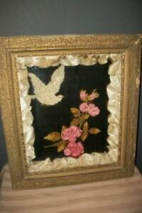 Victorian 1880s Mourning Funeral Shadow Box Display Chenille Embroidery Silk
