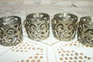 Vintage Silver Plated Filigree 4 Napkin Rings Chic Shabby Hollywood Regency