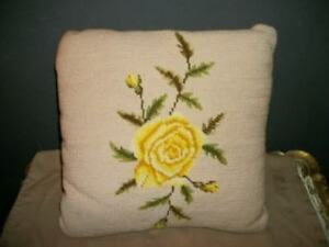 Vintage Needlepoint Yellow Rose Pillow Cottage Chic Shabby Handmade
