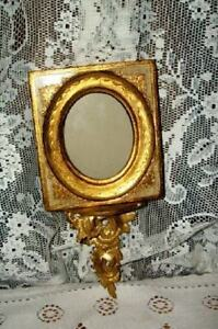 Italian Florentine Gilt Wood Carved Ornate Sconce Picture Frame Chic Sha