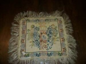 French Shabby Chic Paris Apt Italian Tapestry Table Cover Doily Fringe Antique