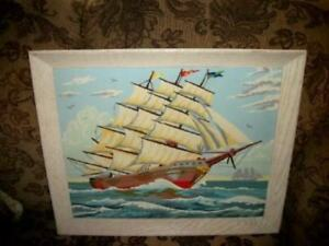 Pbn Paint By Numbers Clipper Ship Large White Oak Frame Chic Shabby Vintage
