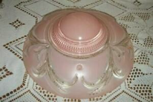 Art Deco Pink Glass Ceiling Light Fixture Shade 3 Chain Cottage Chic Shabby