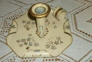 Rare Hp Gold Creamy Silver Tole Candle Holder Chamberstick Shabby Americana Chic
