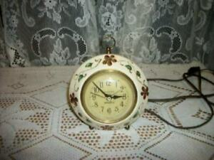 Vintage Chic Hp Tole Table Vanity Clock Seth Thomas Shabby Floral Electric