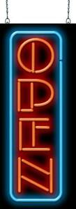Vertical Open Neon Sign Jantec 2 Sizes Real Neon Free Shipping