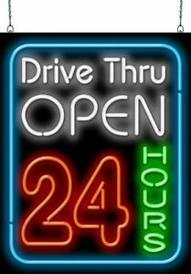 Drive thru Open 24 Hours Neon Sign Jantec 2 Sizes late real Neon free Shipping