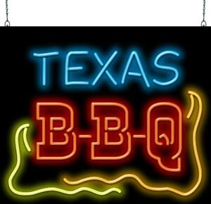 Texas Bbq Neon Sign Jantec 32 Wide X 27 High Barbecue Free Shipping