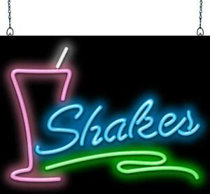 Shakes Neon Sign Jantec 3 Sizes Ice Cream Milk Shakes Soda Fountain