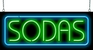Sodas Neon Sign Jantec 2 Sizes Fountain Ice Cream Free Shipping Pop