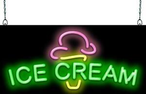 Ice Cream Cone And Text Neon Sign Jantec 3 Sizes Frozen Yogurt Free Ship