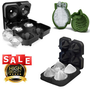 ICE Balls Maker Skull Diamond Grenade Tray Mold Cube Whiskey Cocktails Silicone
