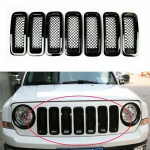 7pcs Black Front Mesh Grille Grill Insert Trim Kit For Jeep Patriot 2011 2018