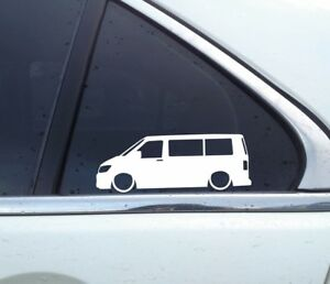 2x Lowered Car Outline Stickers For Vw T6 Multivan Transporter