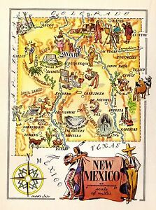 1940s Antique Animated New Mexico State Map Antique Map Of New Mexico 5438
