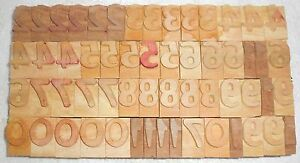Letterpress Letter Wood Type Printers Block numarical Number 57 Piece bc 1959