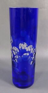 Antique Art Deco Bohemian Cobalt Blue Cut To Clear Crystal Glass Cylinder Vase