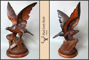 Black Forest Hand Carved Wooden Eagle Swiss Glass Eyes
